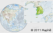 Physical Location Map of South Korea, lighten, semi-desaturated