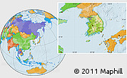 Physical Location Map of South Korea, political outside