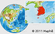 Physical Location Map of South Korea