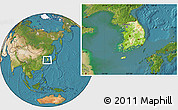 Physical Location Map of South Korea, satellite outside