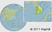 Physical Location Map of South Korea, savanna style outside, hill shading