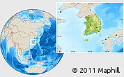 Physical Location Map of South Korea, shaded relief outside