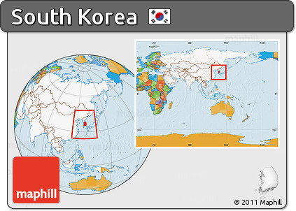 Free political location map of south korea highlighted continent political location map of south korea highlighted continent within the entire continent gumiabroncs Choice Image