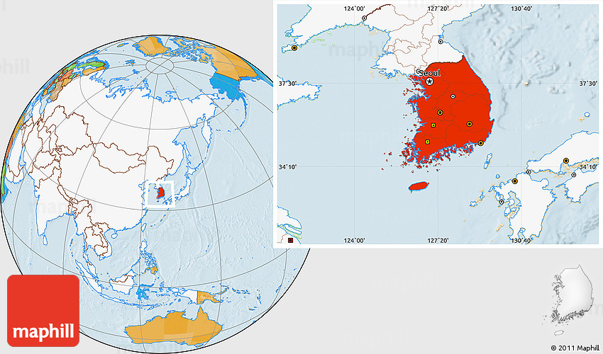 Political Location Map of South Korea highlighted continent