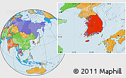Political Location Map of South Korea