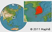 Satellite Location Map of South Korea