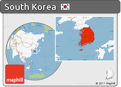 Free Savanna Style Location Map of South Korea highlighted continent