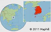 Savanna Style Location Map of South Korea