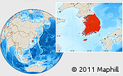 Shaded Relief Location Map of South Korea