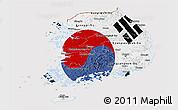 Flag Panoramic Map of South Korea