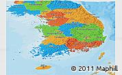Political Panoramic Map of South Korea
