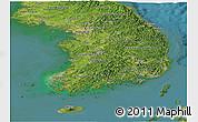 Satellite Panoramic Map of South Korea