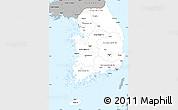 Gray Simple Map of South Korea