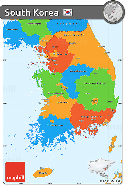 Free Political Simple Map Of South Korea