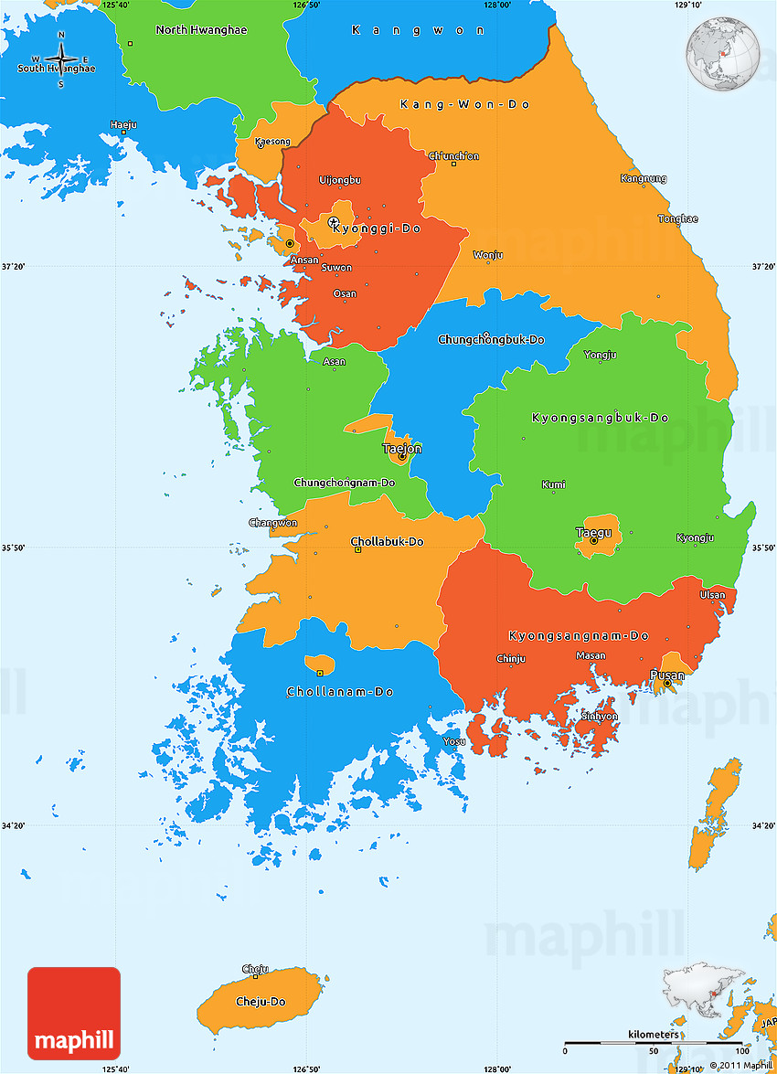 Political Simple Map of South Korea