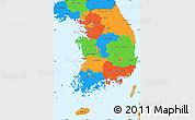 Political Simple Map of South Korea