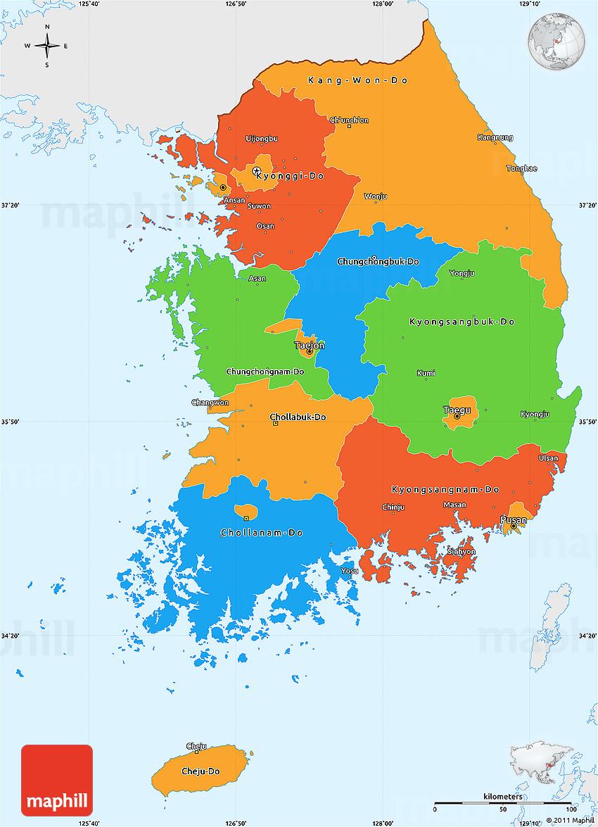 Political Simple Map of South Korea single color outside
