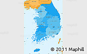 Political Shades Simple Map of South Korea