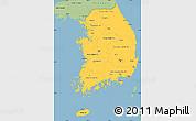 Savanna Style Simple Map of South Korea