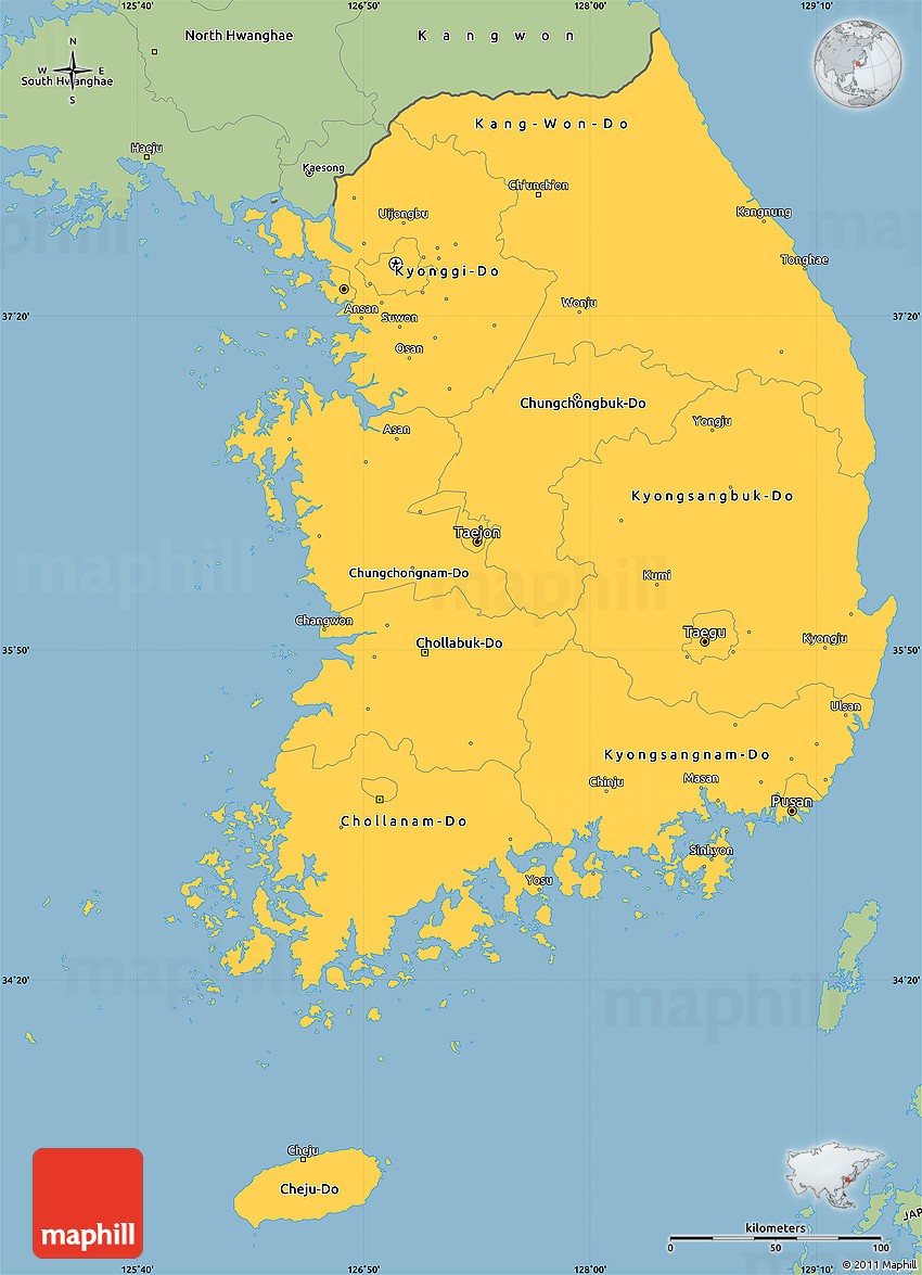 Savanna Style Simple Map Of South Korea - Map of south korea