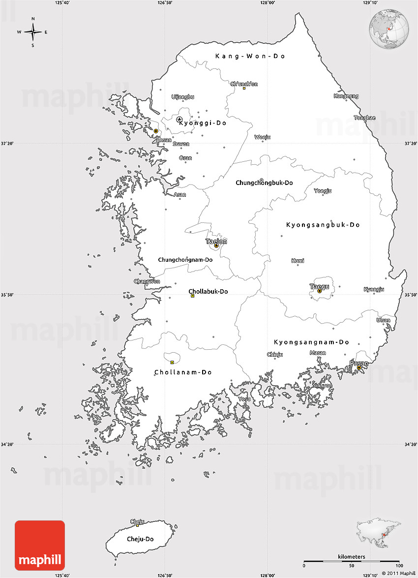 Picture of: Silver Style Simple Map Of South Korea Cropped Outside