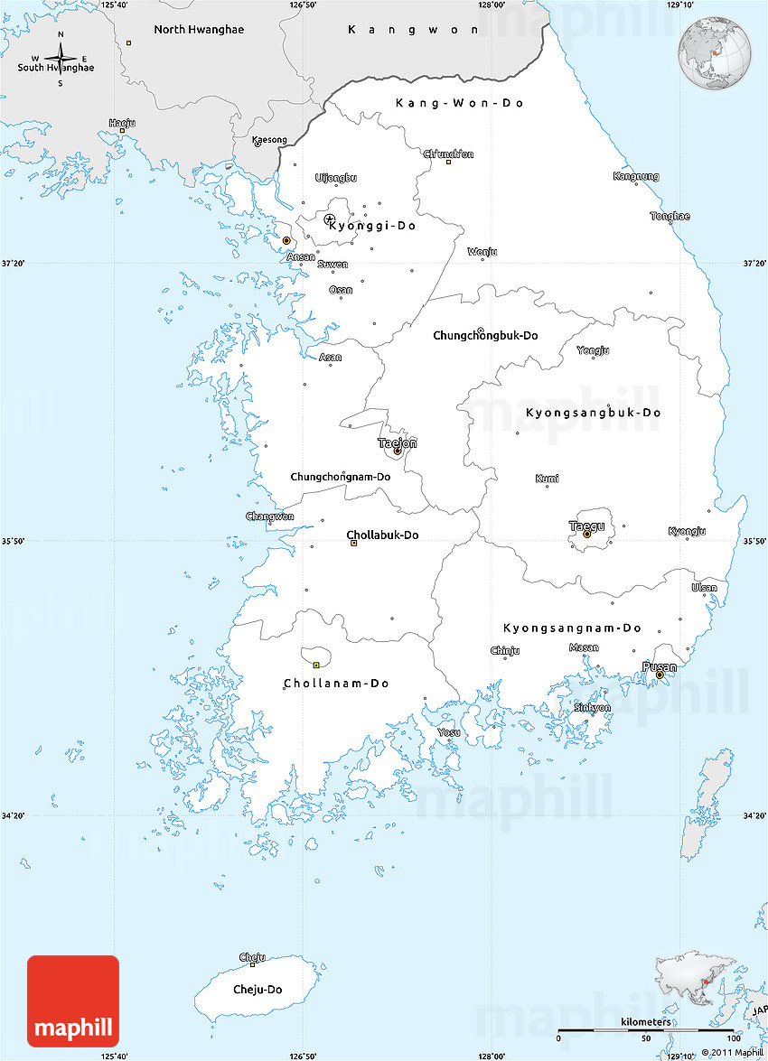 Silver Style Simple Map Of South Korea - Map of south korea