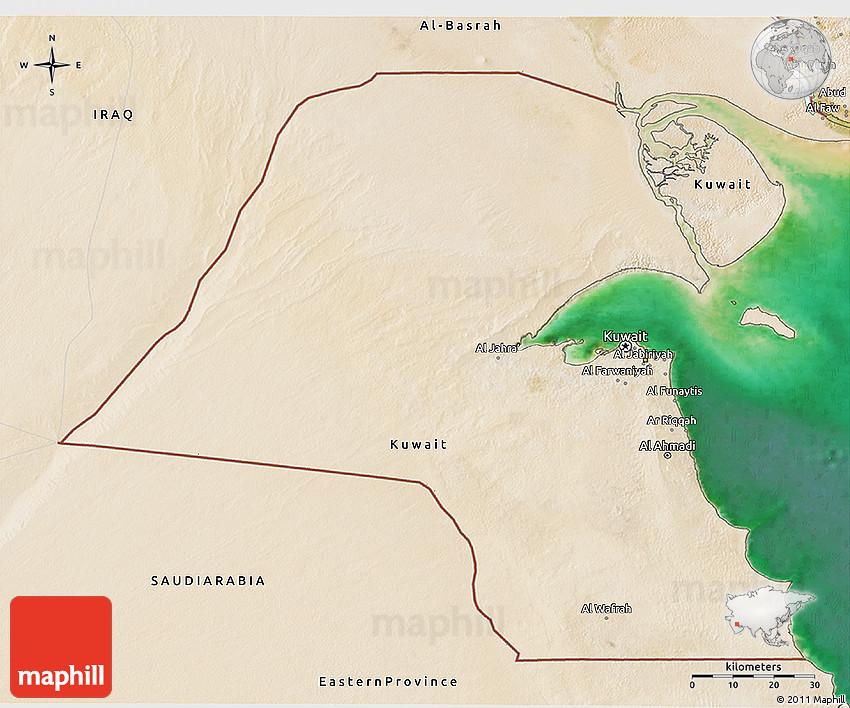 Satellite 3D Map of Kuwait