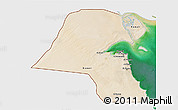 Satellite 3D Map of Kuwait, single color outside