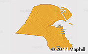 Political 3D Map of Kuwait, cropped outside