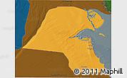 Political 3D Map of Kuwait, darken