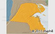 Political 3D Map of Kuwait, semi-desaturated