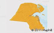 Political 3D Map of Kuwait, single color outside