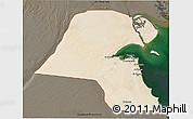 Satellite 3D Map of Kuwait, darken