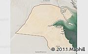Satellite 3D Map of Kuwait, semi-desaturated
