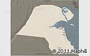 Shaded Relief 3D Map of Kuwait, darken