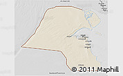 Shaded Relief 3D Map of Kuwait, desaturated