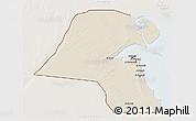 Shaded Relief 3D Map of Kuwait, lighten