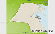 Shaded Relief 3D Map of Kuwait, physical outside