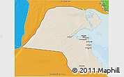Shaded Relief 3D Map of Kuwait, political outside