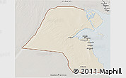 Shaded Relief 3D Map of Kuwait, semi-desaturated