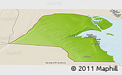 Physical Panoramic Map of Kuwait, shaded relief outside
