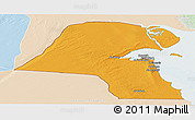 Political Panoramic Map of Kuwait, lighten