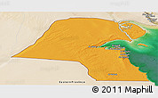 Political Panoramic Map of Kuwait, satellite outside