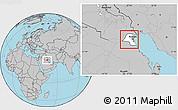 Blank Location Map of Kuwait, gray outside