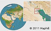 Gray Location Map of Kuwait, satellite outside, hill shading
