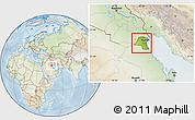 Physical Location Map of Kuwait, lighten
