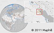 Satellite Location Map of Kuwait, lighten, desaturated