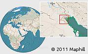 Satellite Location Map of Kuwait, lighten, land only