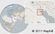 Satellite Location Map of Kuwait, lighten, semi-desaturated