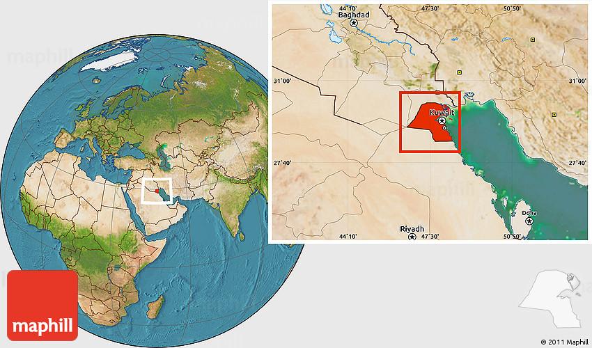 Satellite Location Map of Kuwait